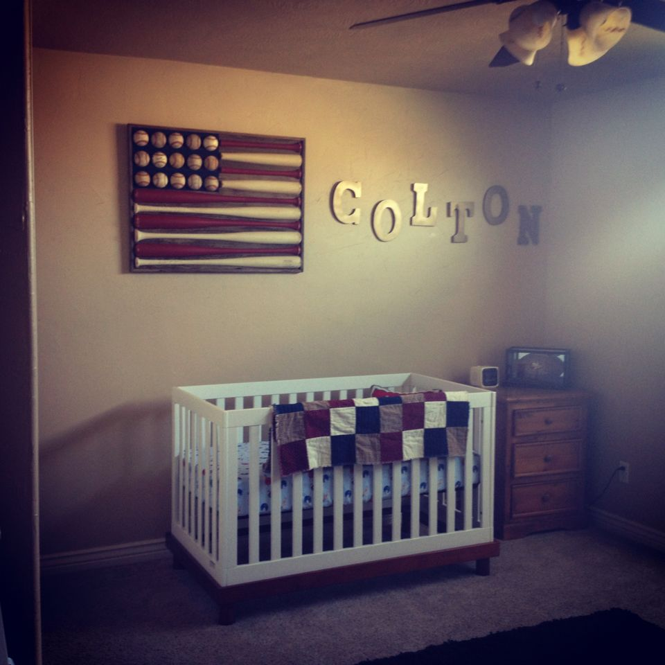 Baseball Themed Nursery Décor Diy American Flag Wall Art Made Out Of Red White Bats Base