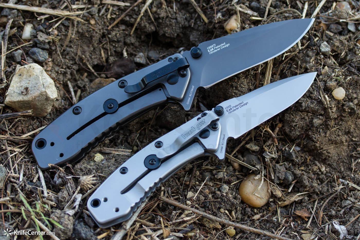 "Kershaw 1555Ti Cryo Assisted 2-3/4"" Plain Blade, Rick Hinderer Framelock Design - KnifeCenter"
