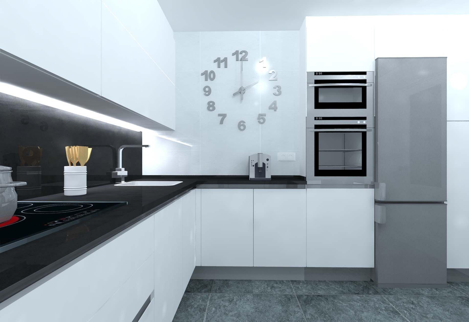 Cocina Blanco Mate Con Gola De Aluminio Cocinas Cocinasymas