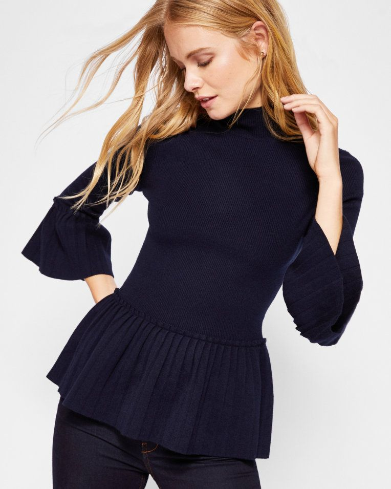 0c690d7a4789 Pleated sweater - Navy
