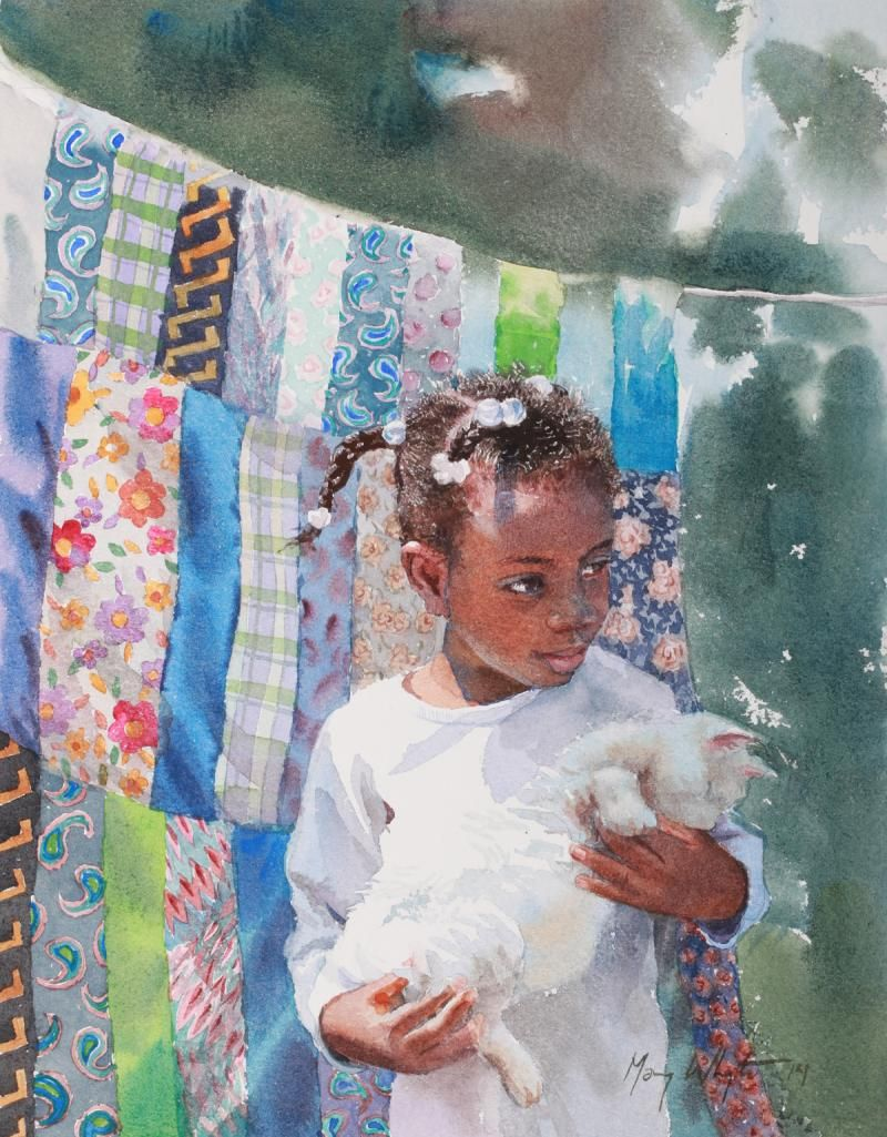 Watercolor books by mary whyte - Kitty By Mary Whyte American Watercolor Artist