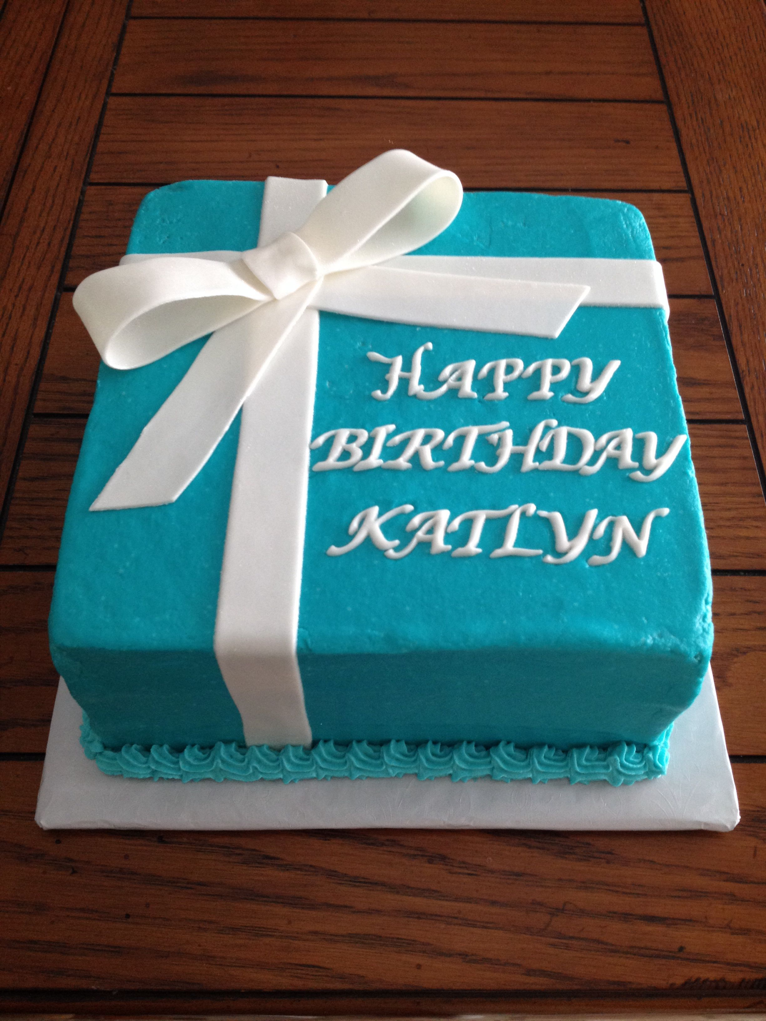Tiffany Blue buttercream present cake with pearl dusted fondant bow for 18th BDay by www.dkscakes.com