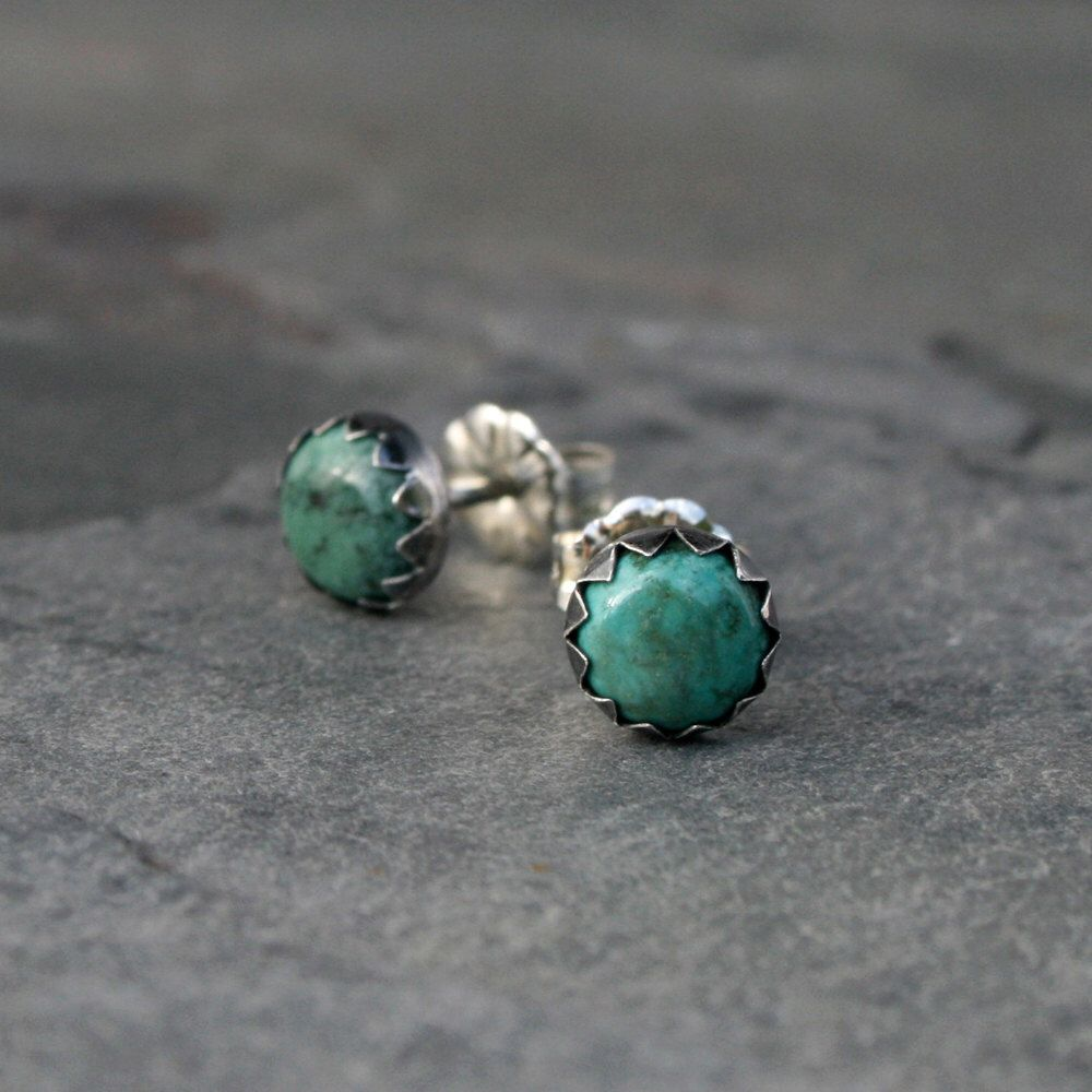 Desert Dreaming Turquoise Stud Earrings Sterling Silver Studs Burnished Oxidized Finish Natural