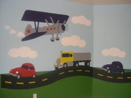 plane and car theme toddler boys room fun idea for the walls