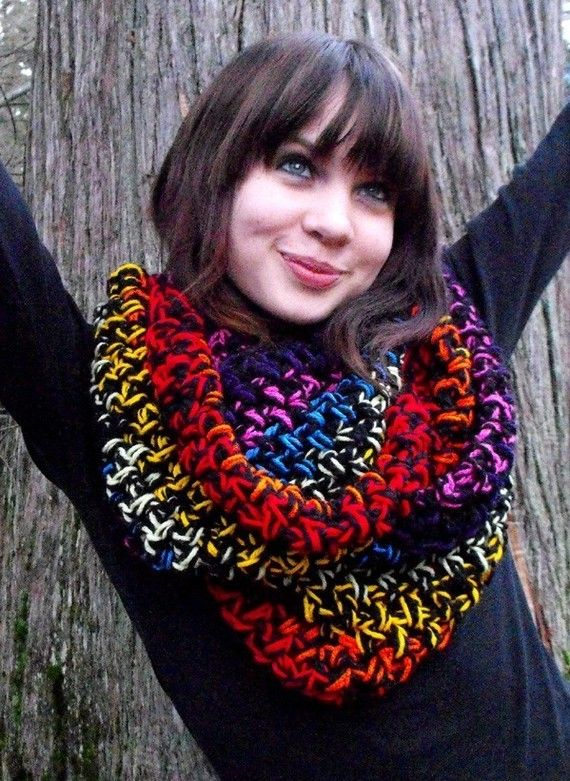 Cowl neck Hood scarf Wear A Rainbow It will make you Happy | Scarves ...