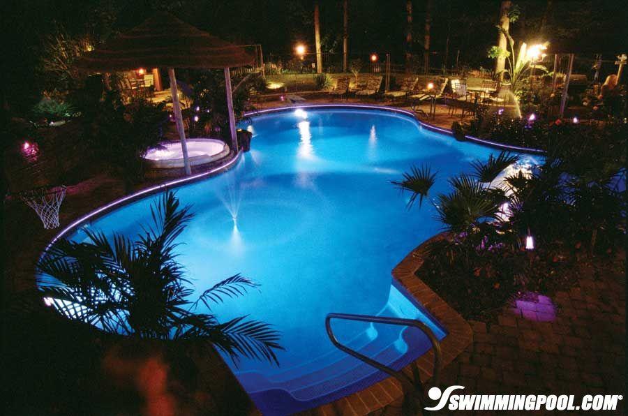 Vinyl Pool with LED Lighting   Swimmingpool.com   Backyard   Vinyl ...