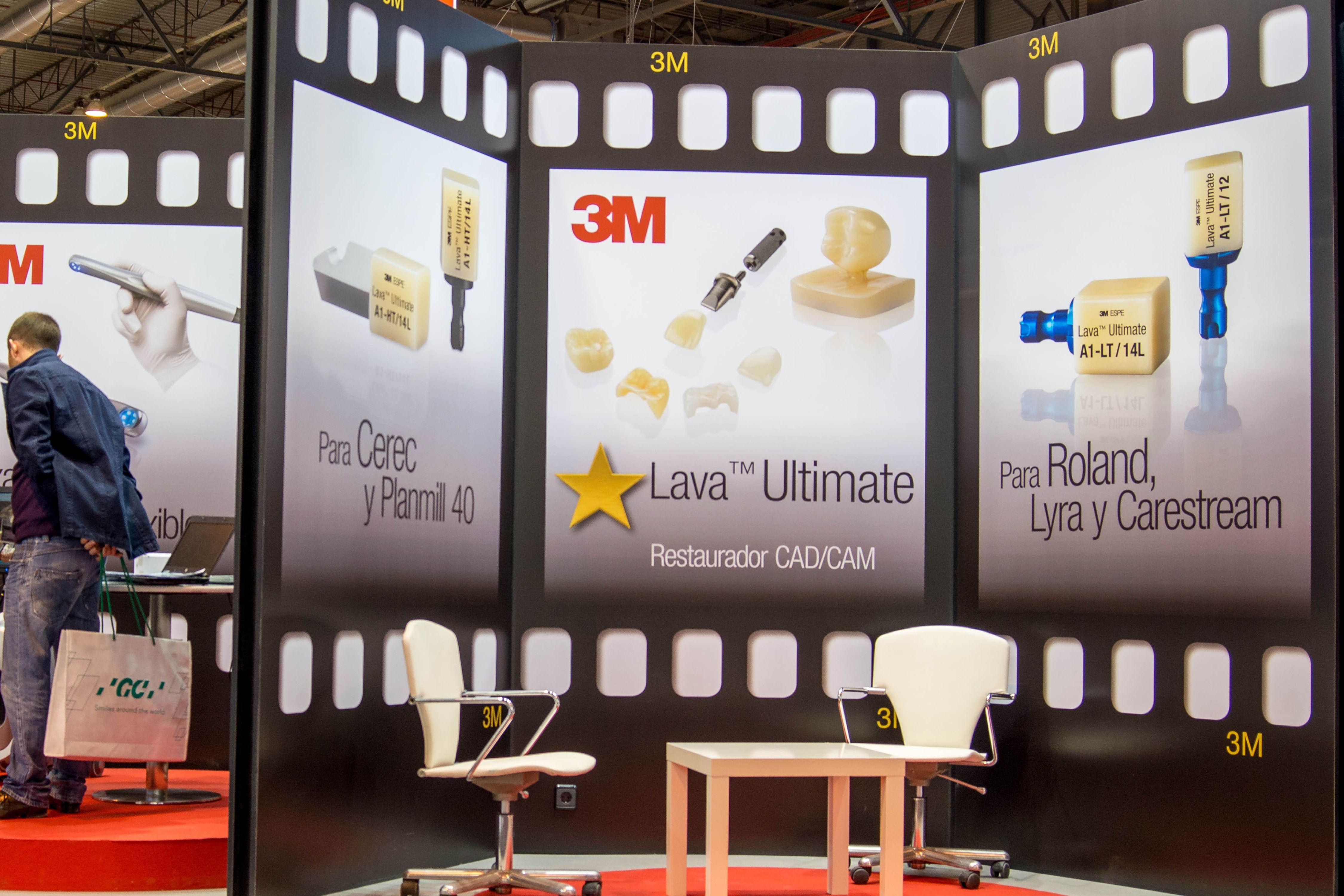 Stand de 3M España para Expodental 2014 diseñado por Producciones Pantuás, diseño gráfico