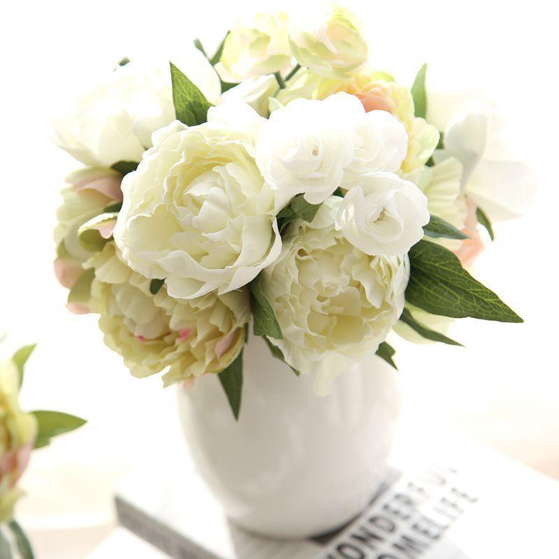 Pas cher 8 Pivoine Fleurs Tête Bouquet Pivoine Fleurs de