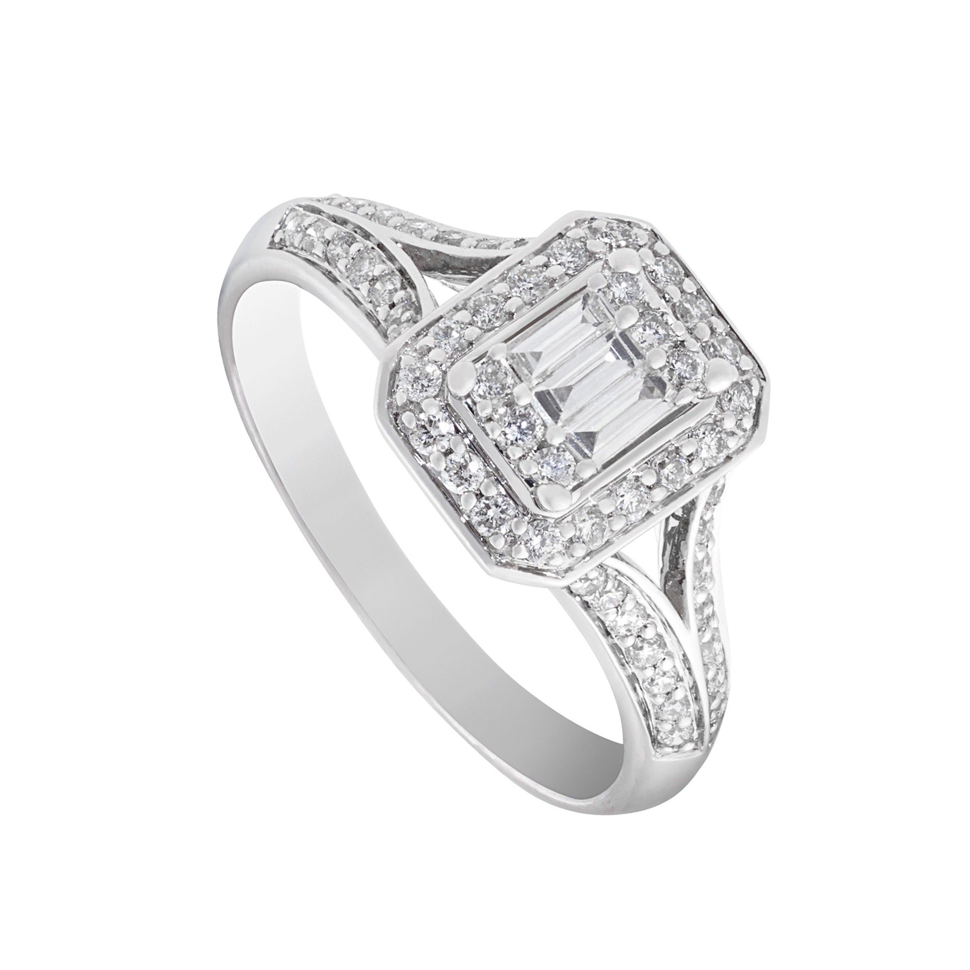 Ladies 18ct White Gold and Baguette Diamond Engagement