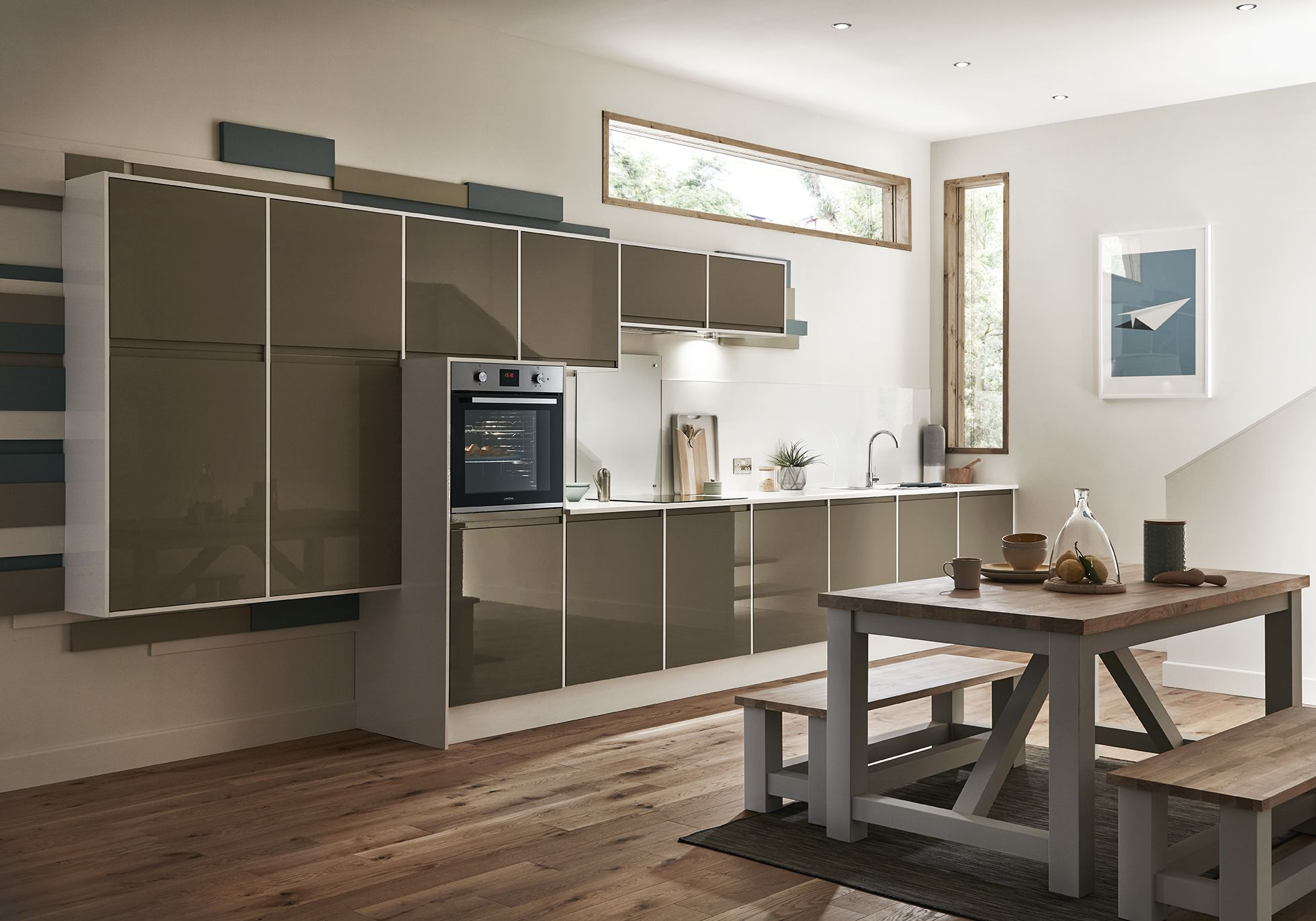 natural uno white high gloss kitchen design interior | Kitchens in 2019 | Modern kitchen design, Interior design ...