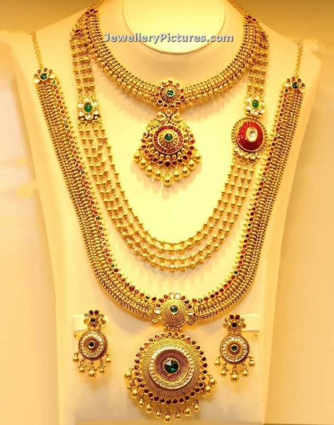 Beautiful Collection Of Haram Designs In Joyalukkas Arranged As A Set In Differet Lengths Jewelry Design Earrings Indian Bridal Jewelry Sets Necklace Designs