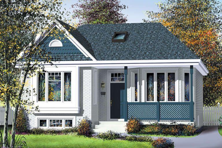 House Plan 6146 00341 Narrow Lot Plan 1 011 Square Feet 2 Bedrooms 1 Bathroom Cottage Plan Narrow Lot House Plans Cottage Floor Plans
