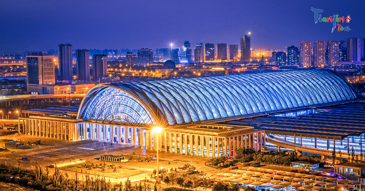 Tianjin West Railway Station. The train is a common choice