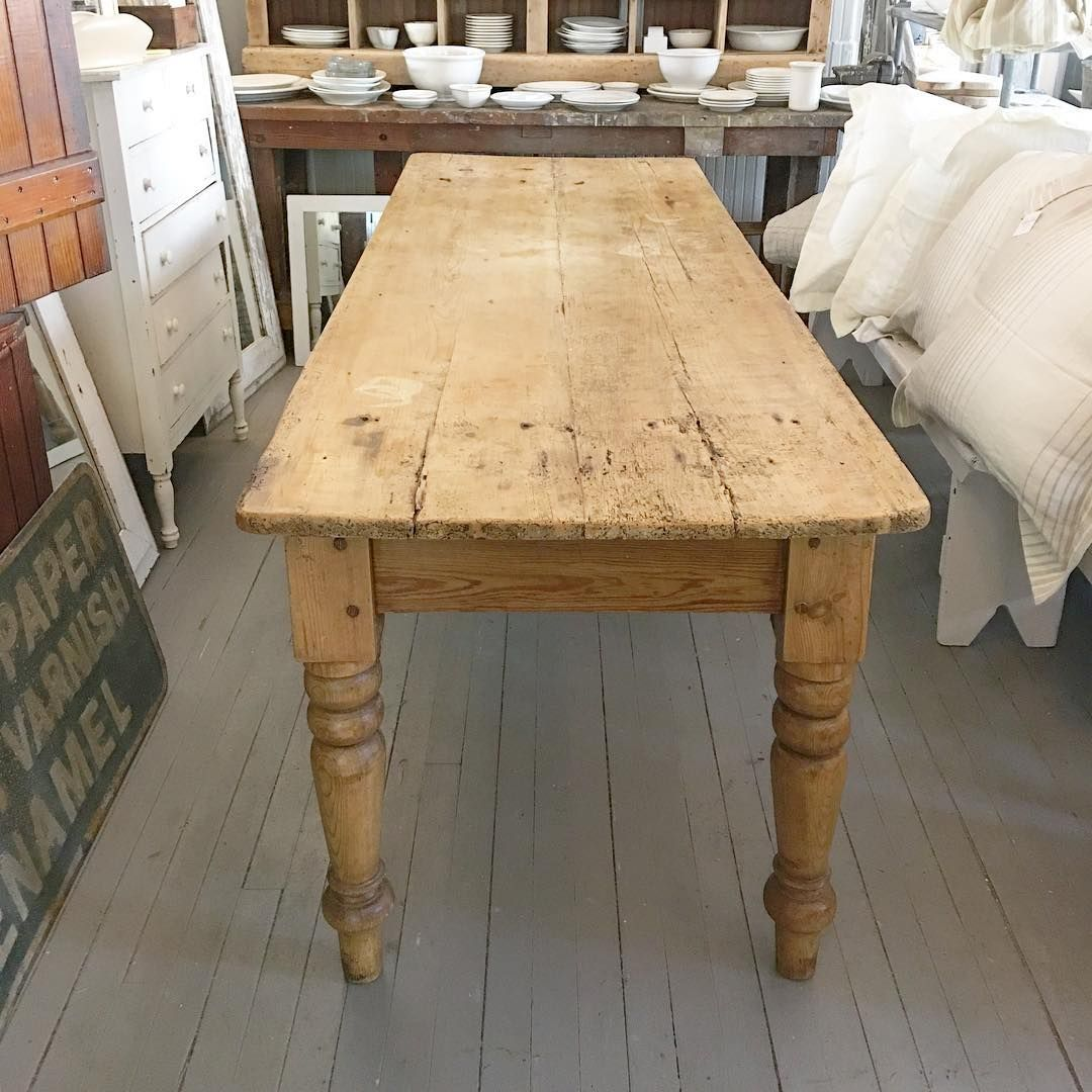 Antique Waxed Pine Farmhouse Table Just In Measures A Little Over