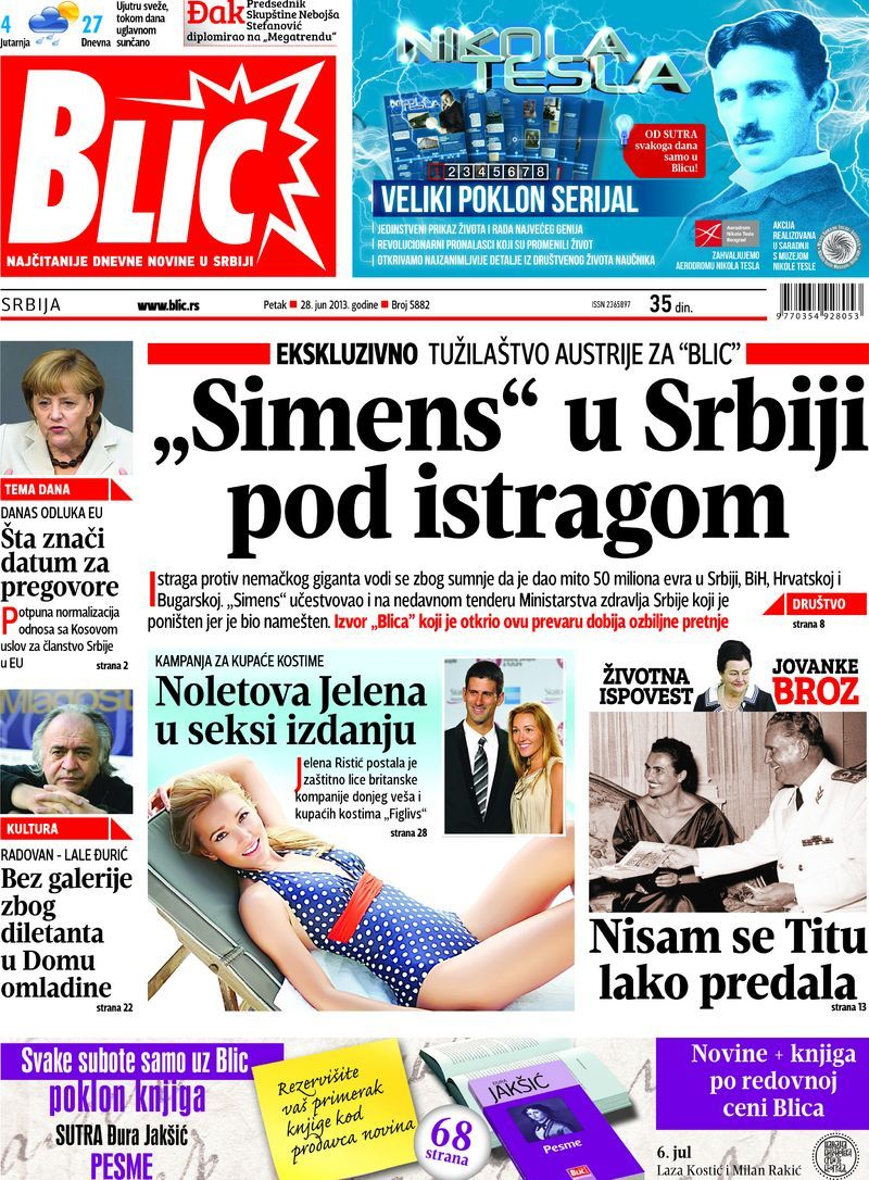 "Naslovna strana ""Blica"" za 28. jun 2013. Screenshots"
