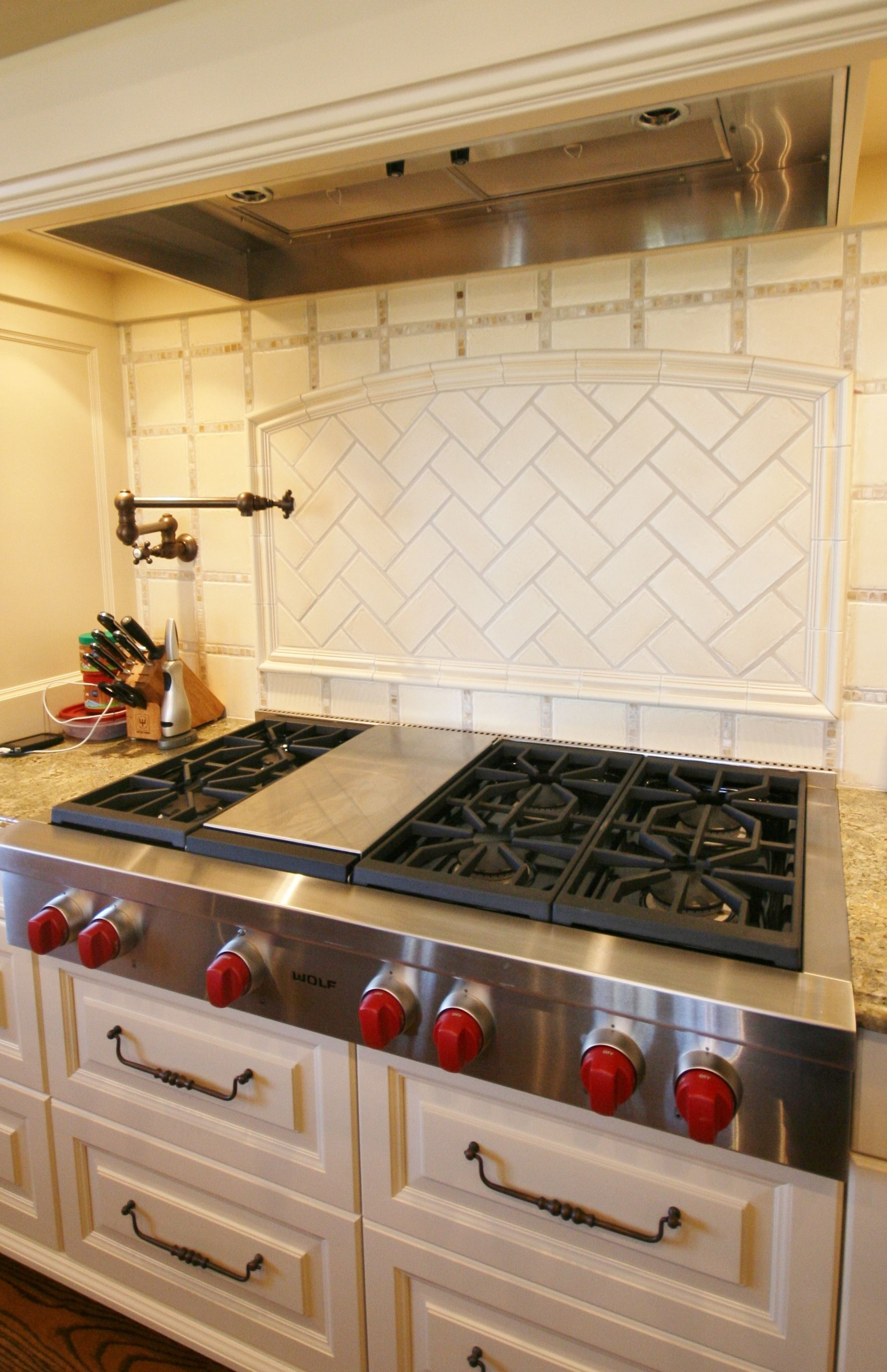 - Wolf Range With 6 Burners And Griddle! We Also Love The Backsplash