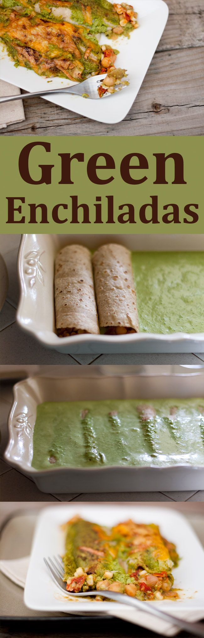 Green Enchiladas. I figured they would be tasty. But, I wasn't really prepared for just how tasty they would be. And, a healthy enchilada? Sign me up!