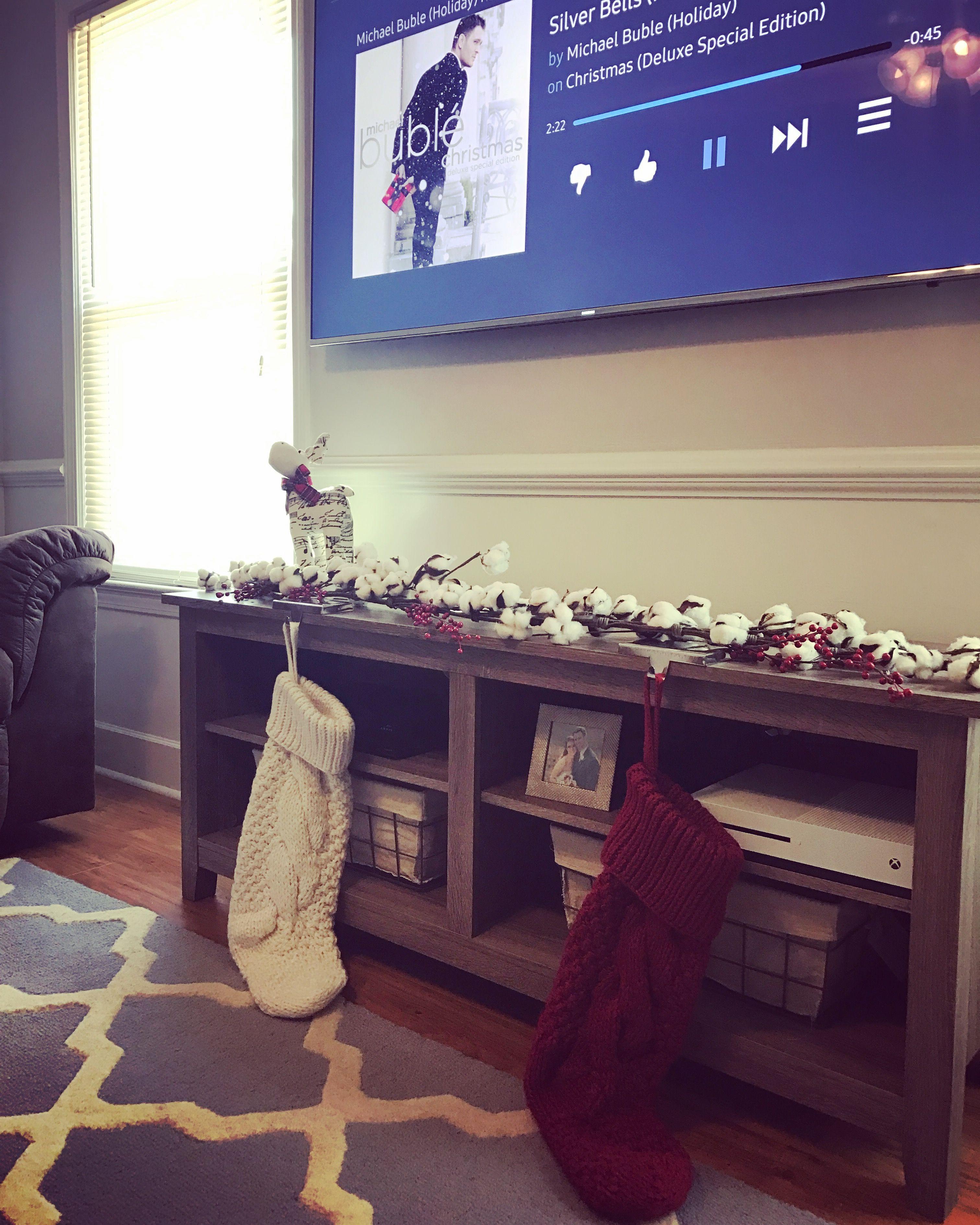 Christmas decor Christmas tv stand Christmas mantle Fake mantle