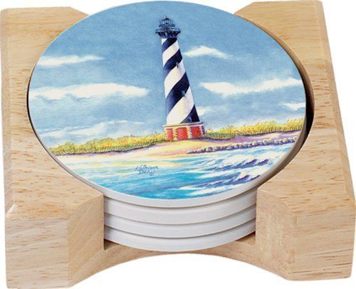 Counterart Hatteras Lighthouse Design Round Absorbent Coasters In Wooden Holder Set Of 4 By Counterart Absorbent Coasters Artistic Designs Household Bleach