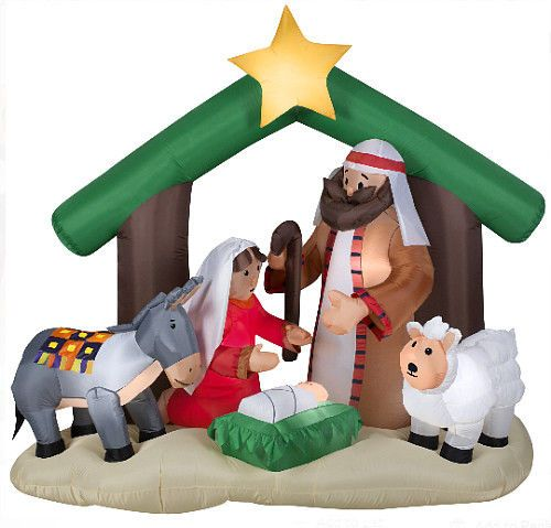 Details about Christmas Inflatable Nativity Scene 6Ft Tall Holy