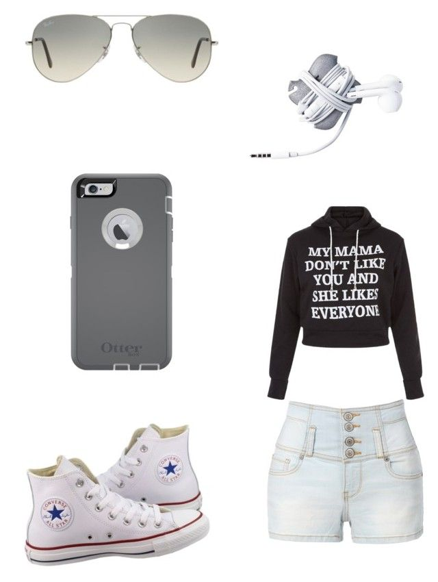 """Untitled #110"" by purpleswaggy19 ❤ liked on Polyvore featuring Converse, LE3NO, New Look, Ray-Ban and OtterBox"