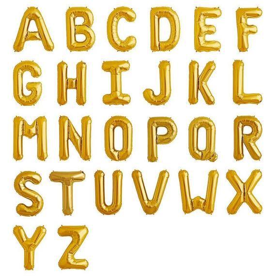 Gold Letter Balloon Letter Foil Balloons Jumbo Letter Etsy In 2021 Gold Letter Balloons Letter Balloons Name Balloons