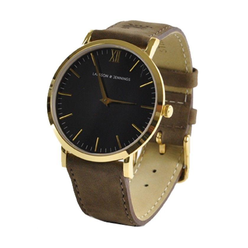Larsson & Jennings Resurgence Gold & White Watch - Brown Suede Strap