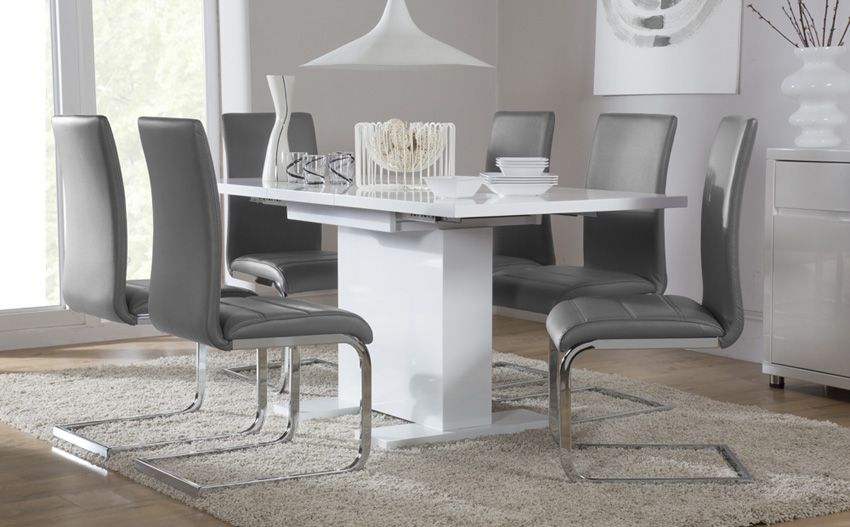 Osaka White High Gloss Extending Dining Table  With 4 Perth Grey Interesting Grey Dining Room Sets Design Decoration