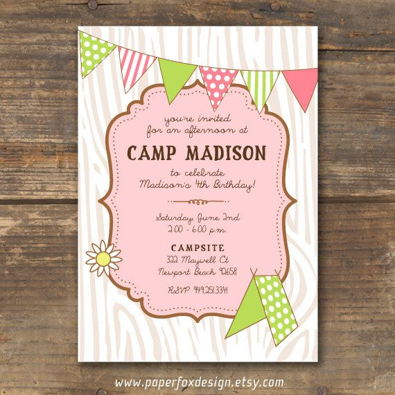 Camping Theme Invitations: Camp Theme Birthday Invitation - Printable