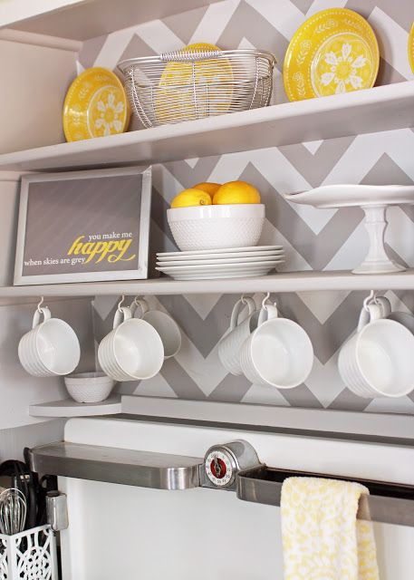 Shill yellow grey gray kitchen chevron lemon white vintage for Yellow and gray kitchen