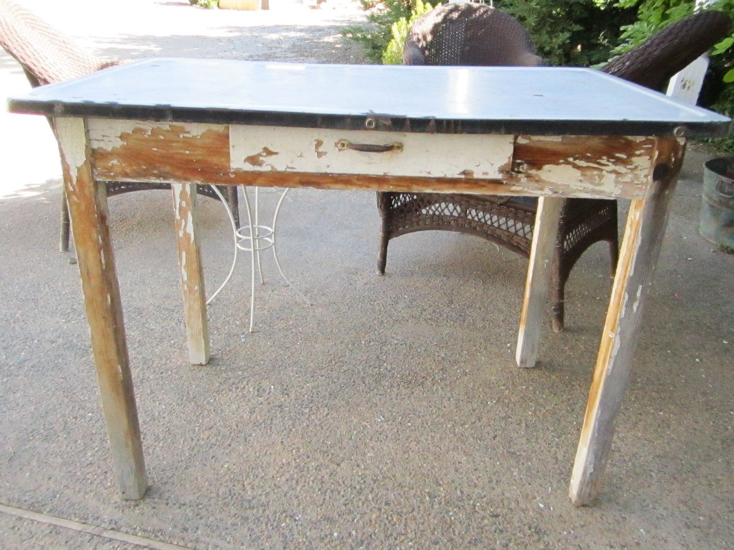 Vintage Farm Table Metal Top With Drawer Chippy Painted Shabby
