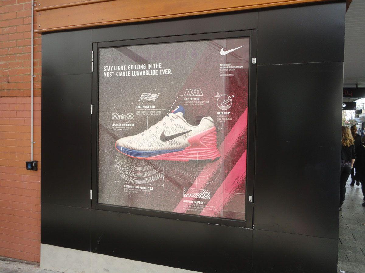 Nike LunarGlide 6, retail window display sports shoe display