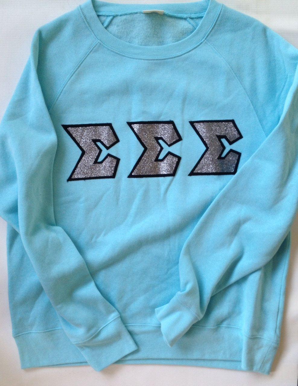 Tri Sigma Letters : sigma, letters, Sigma, Glitter, Letter, Sweatshirt, RobinsNestAK, Etsy,, .00, Greek, Shirts,, Sigma,, Sweatshirts