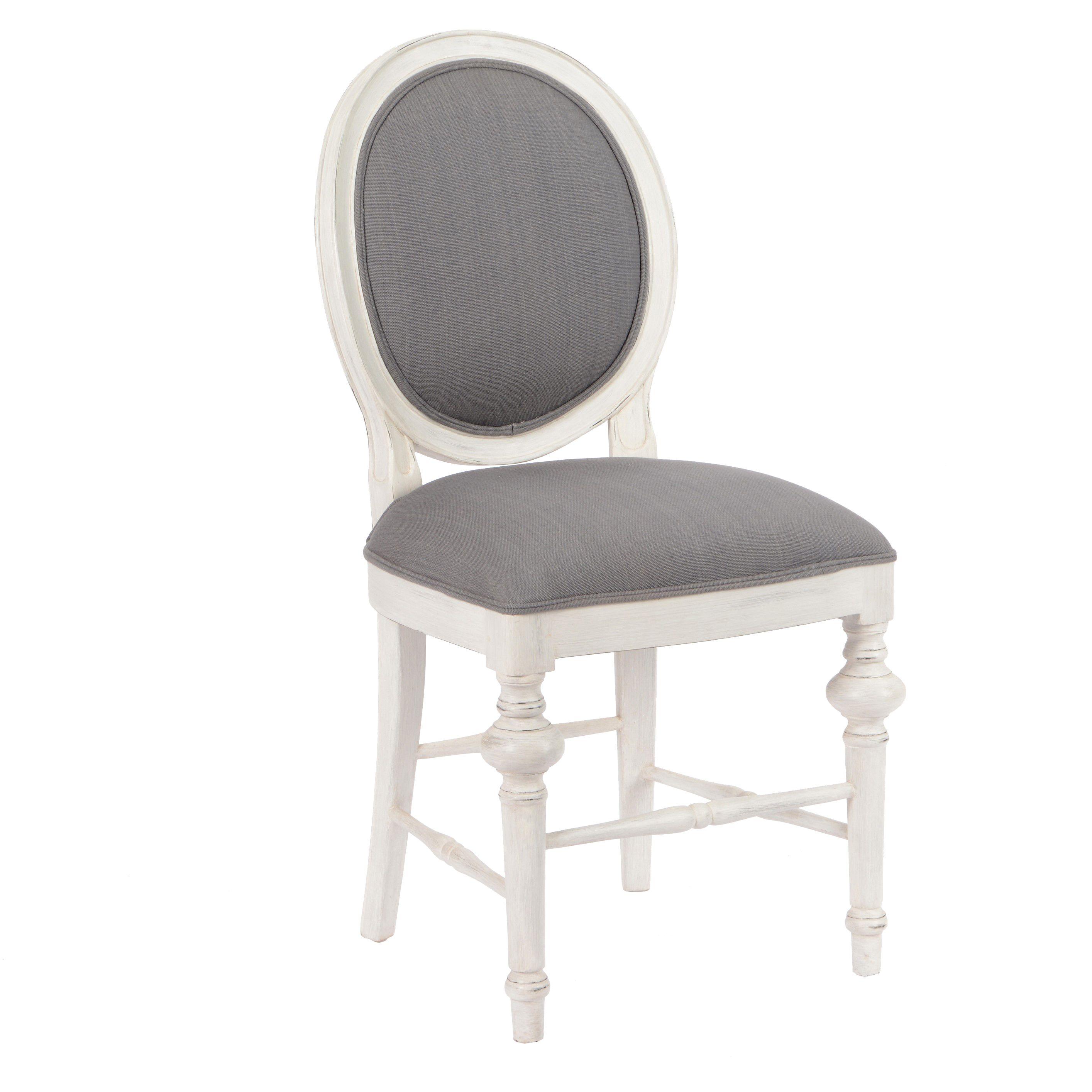 Chaise Medaillon Baroque Heritage Bois Blanchi Tissu Gris 50x53x96cm Amadeus Tissu Gris Chaise Medaillon Chaise