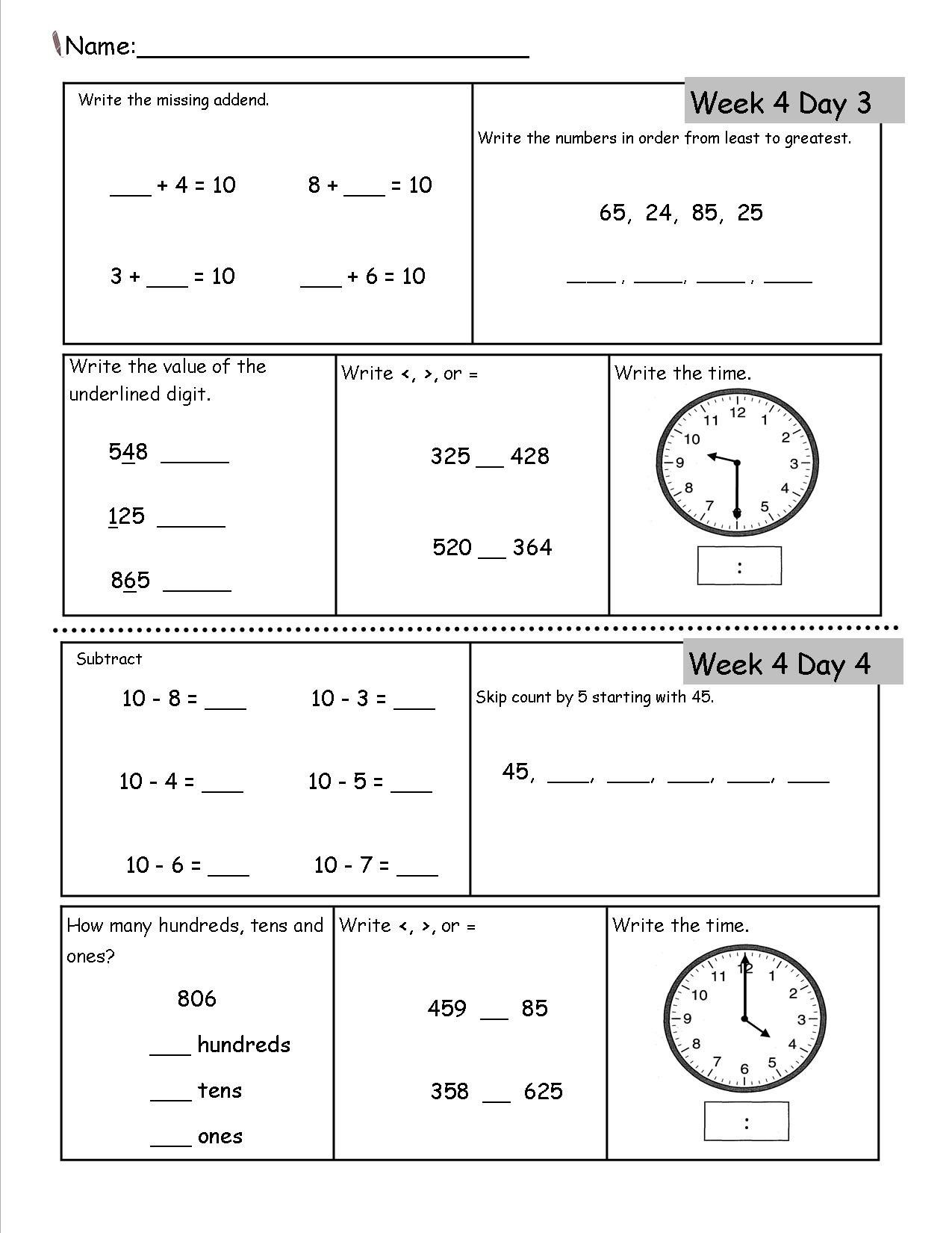 Subtraction Worksheets 2nd Grade
