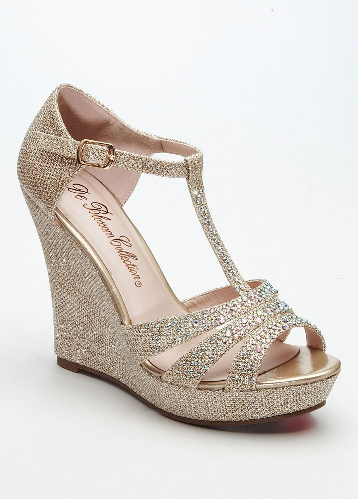 ec09d8fb5527a9 David s Bridal Wedding Bridesmaid Shoes Glitter T Strap Wedge Sandal ...