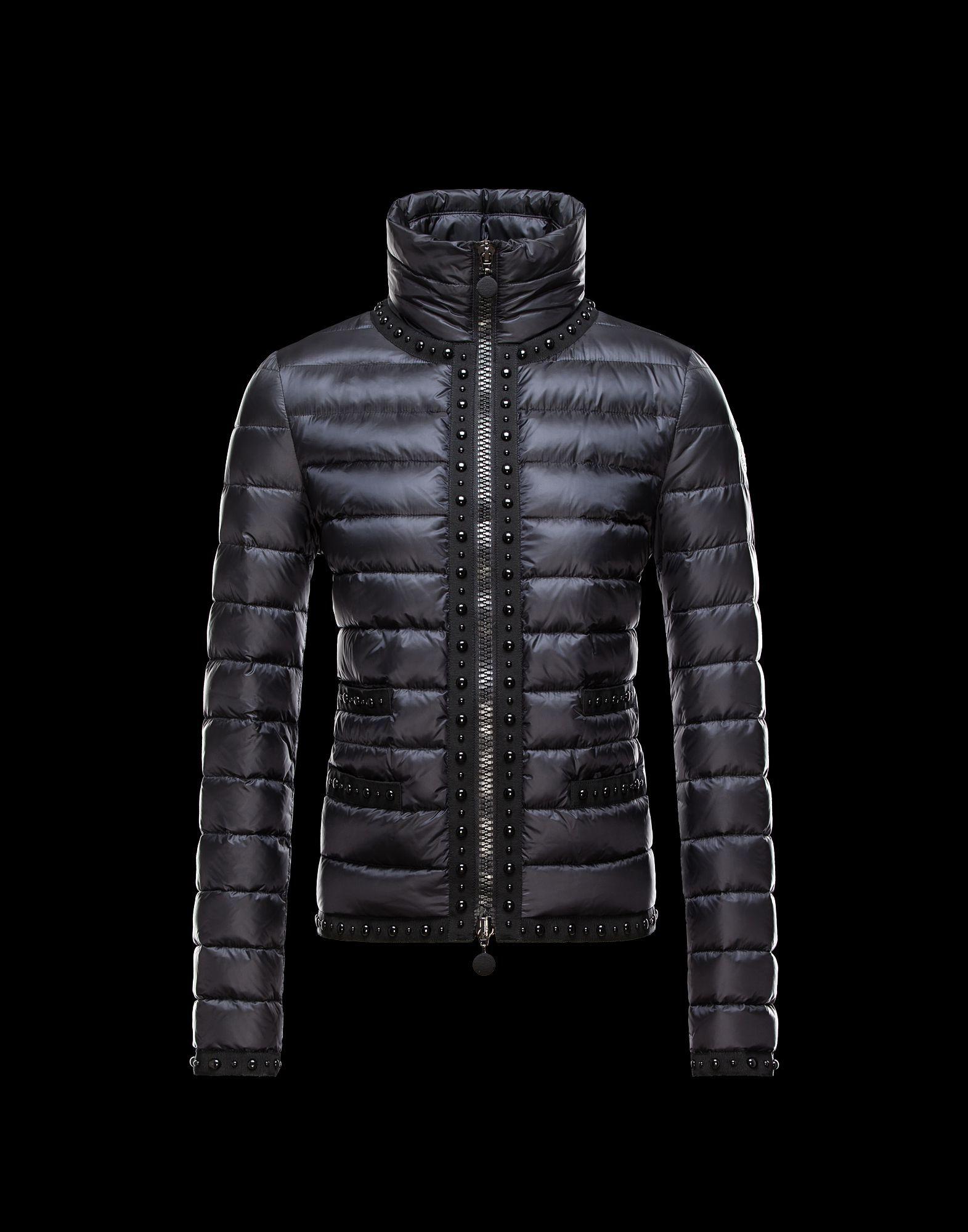 Moncler Fluette Winter Women Jacket Zip Collar Color Black