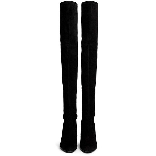 STUART WEITZMAN 'Highland' suede thigh high boots ($925) ❤ liked on Polyvore featuring shoes, boots, over knee suede boots, above the knee boots, tall boots, above-knee boots y suede leather boots