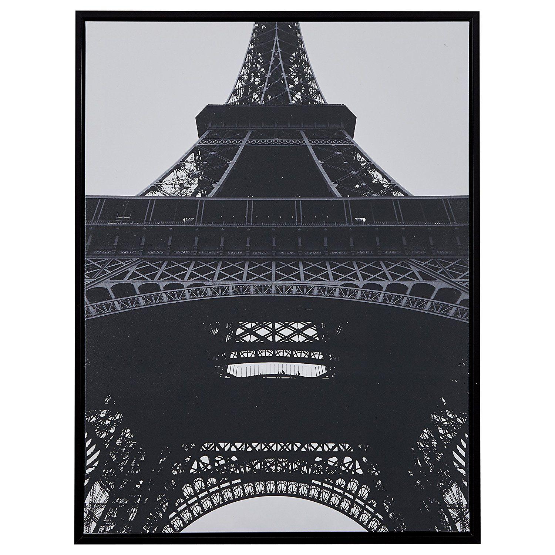 Rivet black and white eiffel tower print in black frame