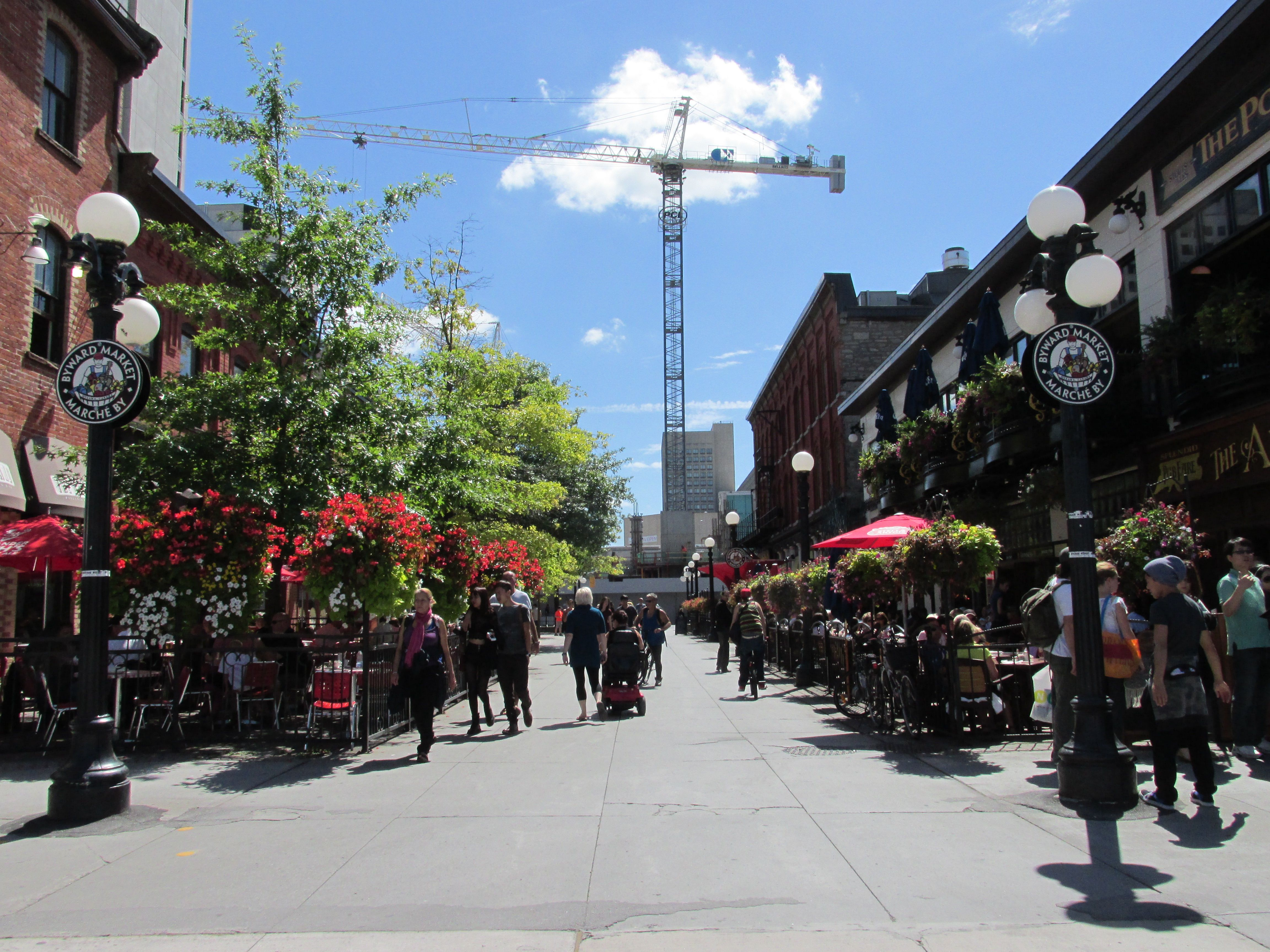 The ByWard Market in Ottawa where young lovers can pause to have a bison burger. Visited in IN HIS KEEPING: TAKEN