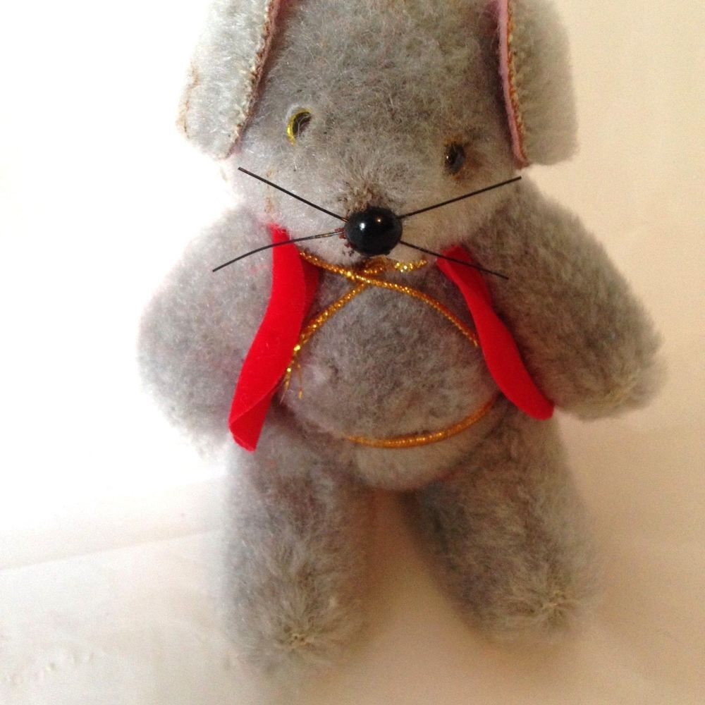 """Vintage Jointed Christmas Mouse Glass Eyes Felt Vest and Ears Mohair Ornament 4"""""""