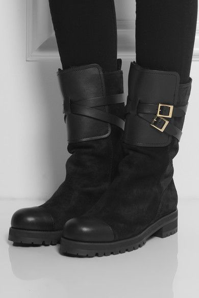 jimmy choo rabbit lined suede biker boots 1 495 this item has sold rh pinterest com