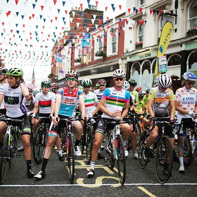 All the jersey wearers line up for Stage 3 AvivaWT2016 by velofocus