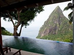 Soufriere, St Lucia views of the stunning Pitons.