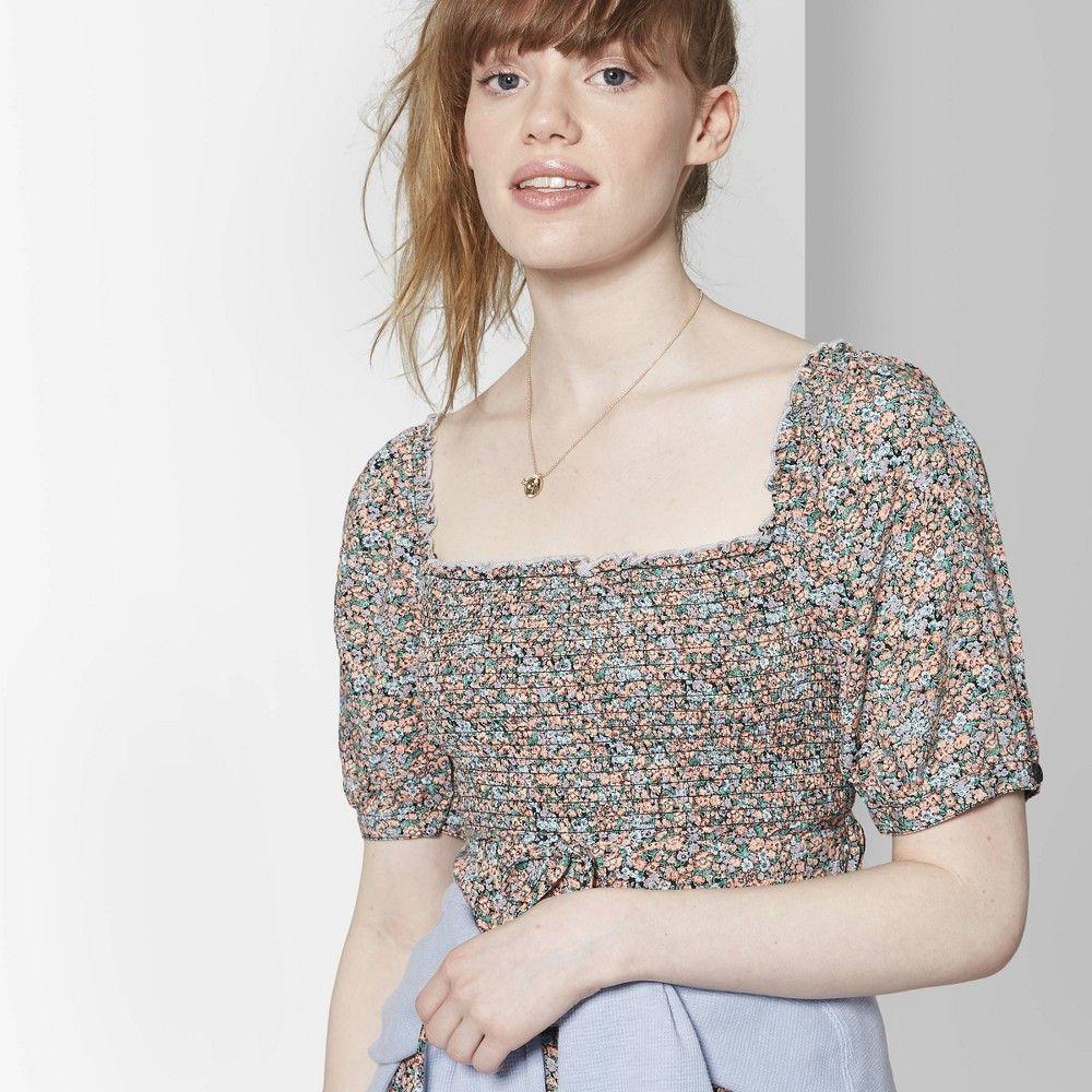 New Wild Fable Womens Black High Neck Short Sleeve Shirt Regular Size Small
