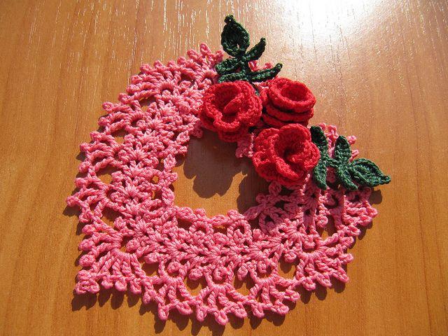 Irish Crochet Heart Ornament by Annie Potter
