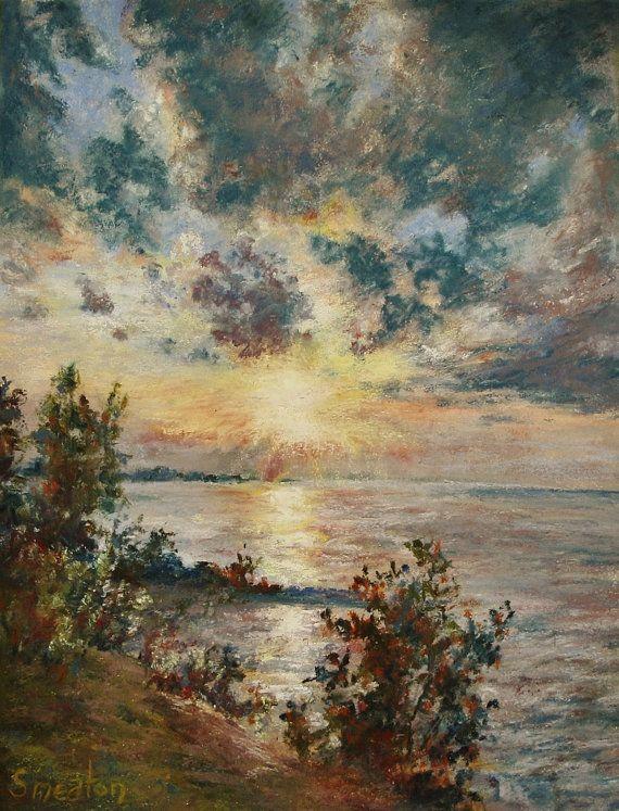 lakeside sunset soft pastel art