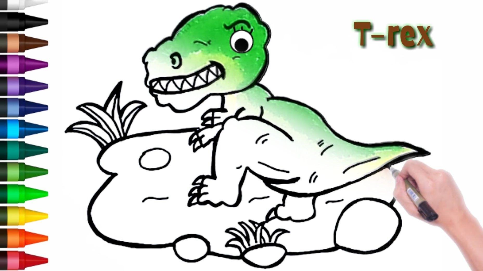 Menggambar Dan Mewarnai Dinosaurus Dinosaurus Cara Menggambar Gambar