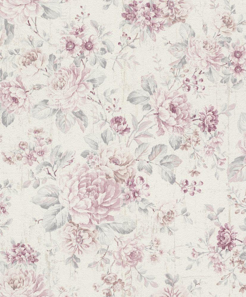 Vliestapete Rasch Blumen Vintage Cremeweiss Rosa 516029 In 2020 Tapeten Floral Tapete Blumen Und Tapeten