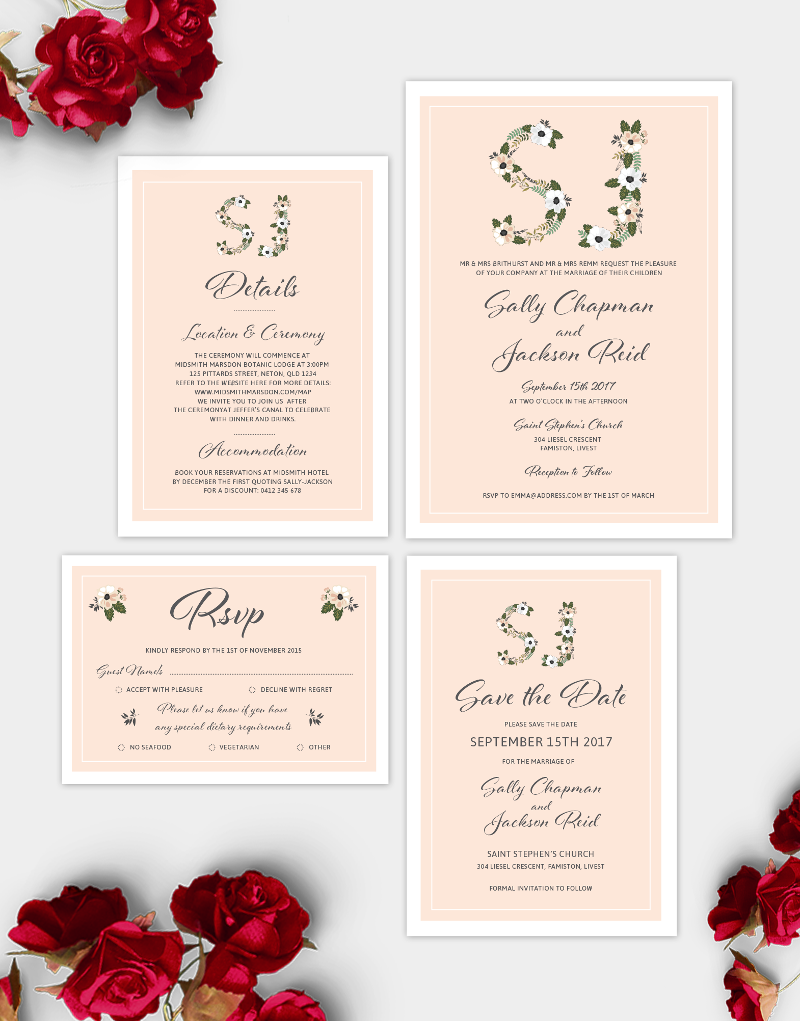 This gorgeous wedding design suite features beautiful classic ...